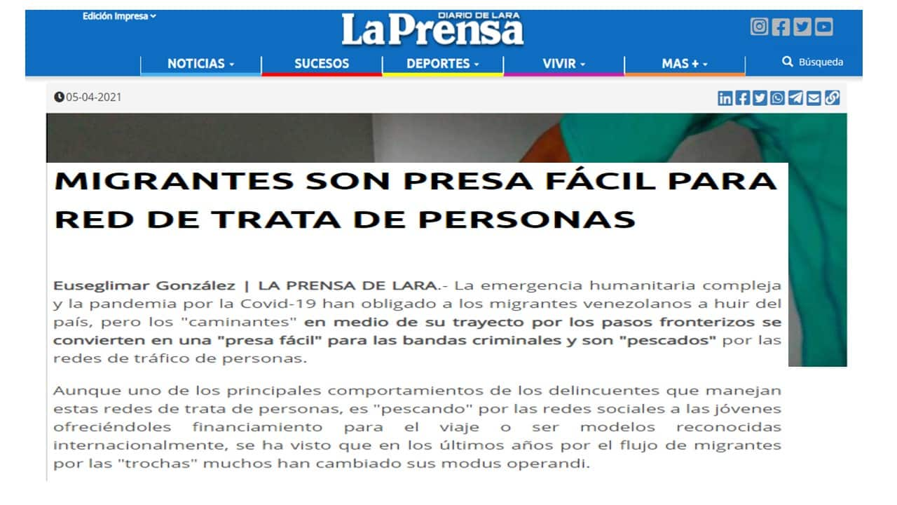 Galería de Noticias de prensa de trata de personas
